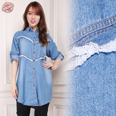 Tua Daftar Harga Source · Atasan Blouse Kemeja Jeans Wanita Jumbo Vita Biru .