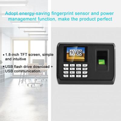 Biometric Fingerprint Time Clock Recorder Attendance Employee Machine With  USB Driver Flash
