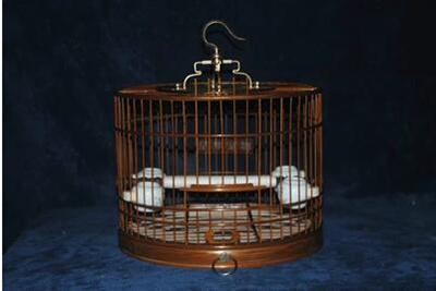 Bird cage bamboo bird cage purple bamboo bird cage indigo red child  shellfish cage