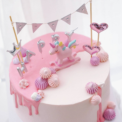 Birthday Cake|Unicorn Cake|Cake Decoration with Unicorn and Silver  Banner|Kids Cake|Cupcake Toppers