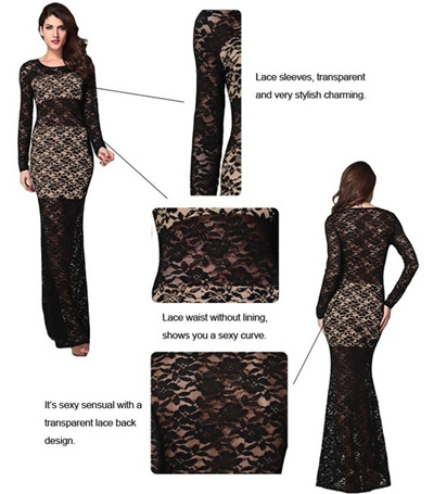 e22259a2bdf Qoo10 - Black elegant Nude Illusion Sexy Lace Evening Dress long dress  LC6303 ...   Women s Clothing