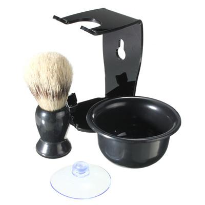 Black Mens Shaving Kit Brush Suction Cup Stand Bowl Set