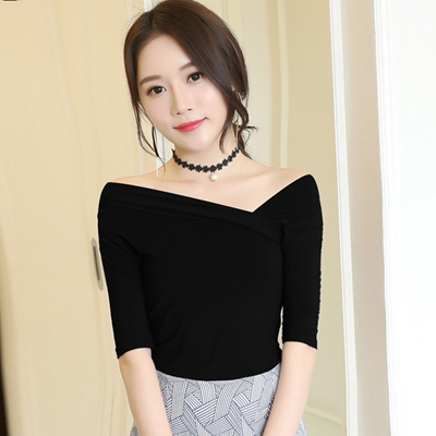 5f310f8f7a0d61 Qoo10 - Black one shoulder v neck t shirt for fall winter crossing off the  sho...   Women s Clothing