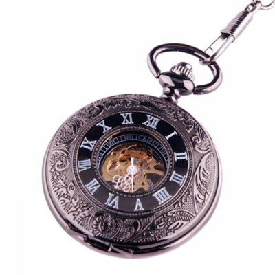 cce2415e3 Black Skeleton Pocket Watch Steampunk Mechanical Movement Hand Wind Half  Hunter Black Dial with.