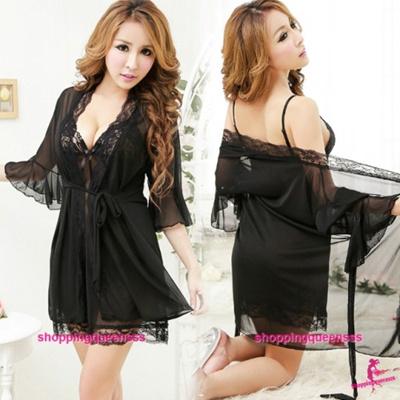 Qoo10 - Black Sling Dress G-String Robes Outfits Sleepwear Sexy Lingerie  M6676   Underwear   Socks e3d6fd840