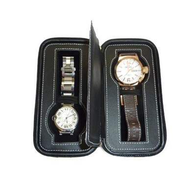 eebc8b7d0c9a Black Two 2 Piece Zippered Watch Travel Case Black Interior Storage  Organizer Watch Collection ...