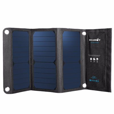 BlitzWolf? 20W 3A Foldable Portable SunPower Solar Cell USB Solar Panel Charger with Power3S for iPh SunPower Solar Portable