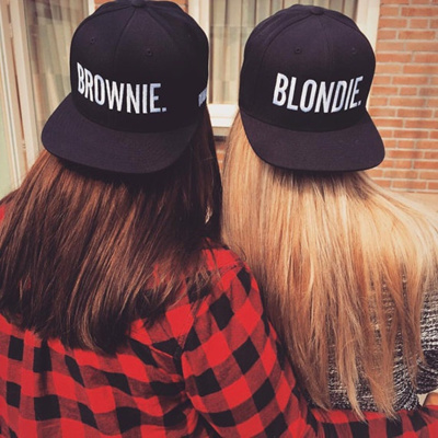 bc362cce4 Blondie Brownie Fashion Embroidered Snapback Cap Pair Hip-Hop Hats Tumblr