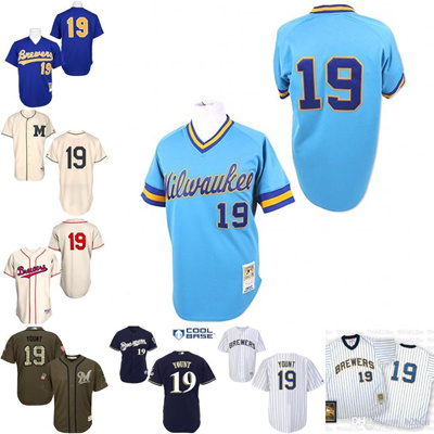 free shipping 1d488 9a8ac Blue 1991 Throwback Robin Yount Authentic Jersey , Men' s #19 Mitchell And  Ness Milwaukee Brewer