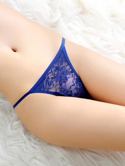 dc618f88a444 Qoo10 - Blue Panties T-Back Lace Semi-Sheer Lingerie for Women : Underwear  & Socks