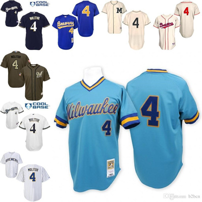 on sale c6472 e147b Blue Throwback Paul Molitor Replica Jersey , Men' s #4 Mitchell And Ness  Milwaukee Brewers