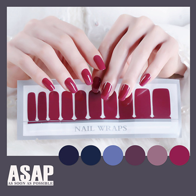 Blue Violet Series Solid Color Nail Sticker Nail Polish Stick Dry Rose Wine Red Bridal Nail Sticker