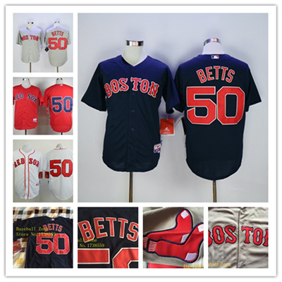 meet 55ddc 595de Boston Red Sox Jerseys 50 Mookie Betts Jersey White Red Grey Cool Base  Shirt Stitched Authentic Red