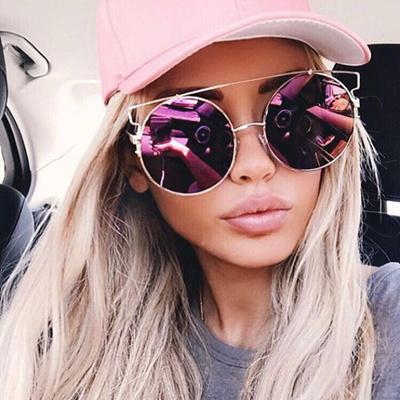 BOUTIQUE Round Women Flat Top Cat Eye Sunglasses Women Brand Designer  Double-Bridge Frame Glasses 8c9f82c7a9