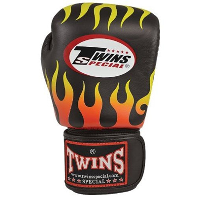 Twins Special Signature Leather Boxing Gloves 16oz Black w// Flames Print