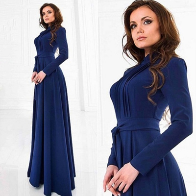 Brief Women s Long Sleeve Cotton Blend Blue Dress Evening Party Full Length  Maxi Gown Dresses 9a43e1893acb