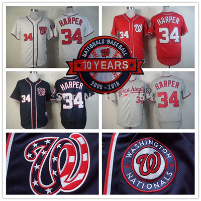 best loved 419fc ab334 Bryce Harper Jersey 10th patch Authentic Washington Nationals Cool Base  Jerseys White Blue Grey Red