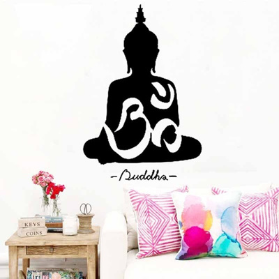 qoo10 - buddha vinyl wall decal removable home religioous decorative