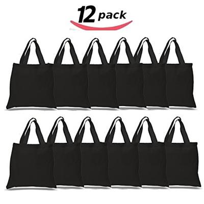 bf62dec7d017 BULK 12 PACK (1 Dozen) Wholesale 100% Cotton Tote Bags, Plain Reusable Art  and Craft Pary Pack Tote