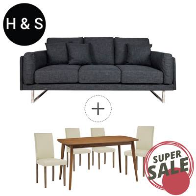 Bundle Special. Fabric Sofa with Solid Wood Dining Set Bundle Sale by HS. 3  Seater Sofa