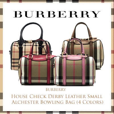 300a9380adee Qoo10 - Burberry House Check Derby Leather Small Alchester Bowling Bag  (Availa...   Bag   Wallet