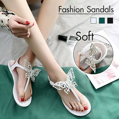 f4ab8b9ef9395 【BUY 2 FREE SHIPPING】2019 Summer Sandals Crystal Shoes / Sweet Bow / Flat  Herringbone student sandal