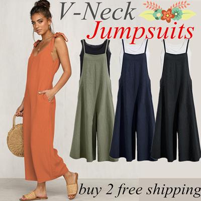 99d3ed2af113f Buy 2 Free Shipping/Special Offer/Women V-Neck Jumpsuits Ladies Bodysuit  Wide Leg Loose Long Pa