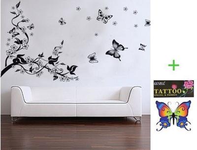 Qoo10 Buyinhouse Branch Flowers Butterflies Wall Decor Decals
