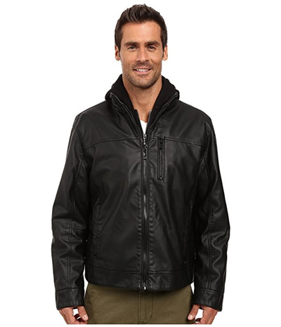 87e2600c21f4 Qoo10 - Calvin Klein Faux Leather Hoodie Jacket   Men s Clothing