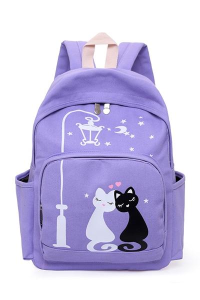 Canvas double shoulder Bag female middle school bag girl bag Japan Korea Fresh College wind fashion