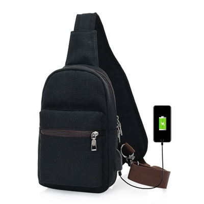 Qoo10 - Canvas Sling Backpack with USB Charging Port and Headphone Holes  Casua...   Mobile Accessori. 9ef9c0d22d0f9