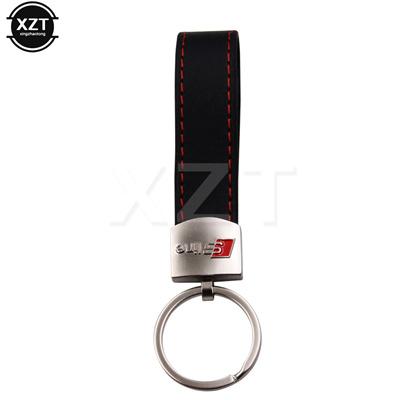 car logo leather keychain keyring key chain ring key holder audi sline s  line a3 a4 a6 a7 a8 b6 s3