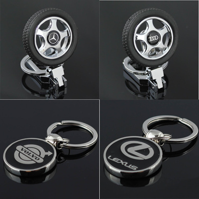Car Tyre Logo Key Chain Wheel Key Ring For All Cars And High Quality Zinc Alloy Mirror Car Logo Key