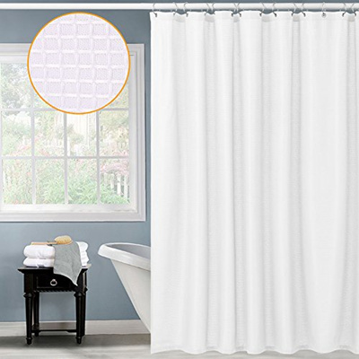 CAROMIO Waffle Fabric Shower Curtain Water Repellent And Mildew Resistant Bathroom W