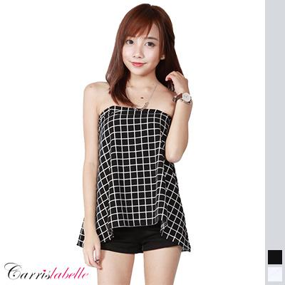 862ae6731e9e3a Qoo10 - [CarrisLabelle] Checkered Tube Top : Women's Clothing