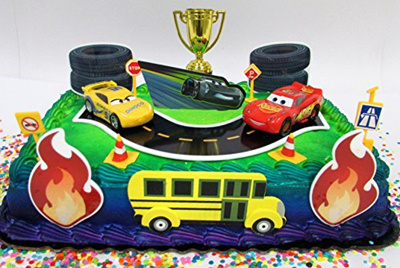 Cars 3 Birthday Cake Topper Set Featuring Lightning Mcqueen And Cruz Ramirez Figures With Decorative