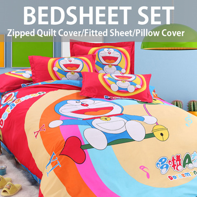 CARTOON BEDSHEETS SET   Zipped Quilt Cover + Fitted Sheet + Pillow Cover /  3 SIZE