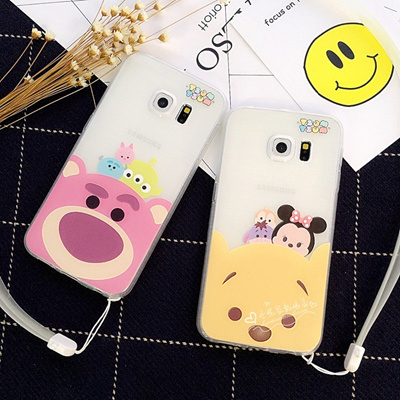 Cartoon couples S7 s6edge lanyard phone case Samsung Note3 sheath soft wire note5 .