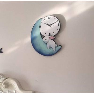 Cartoon Cute Moon Rabbit Wall Clock Mute Bedroom Children Room Nursery Creative Fashion C