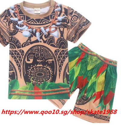 94e82f5e Qoo10 - Cartoon Moana Clothes Boys Clothing Cotton Pajamas Set Maui Costume  2 ... : Kids Fashion