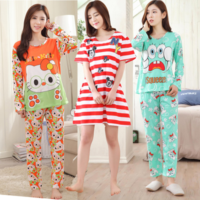 Cartoon pajamas short sleeve nightgown girl pajamas thin women sleepwear  female sleepwear Pajamas aac899a66