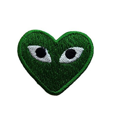 Cartoon Play Comme Des Garcons Green Heart Eyes Embroidered Iron On Sew On Badge Applique P