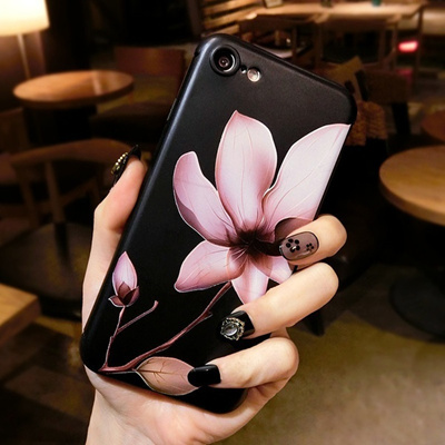 uk availability 3c2db cee6f Cartoon Soft 3D Relief Lotus Flower Phone Case For iPhone 6 6s Plus 7 7  Plus Case Back Cover