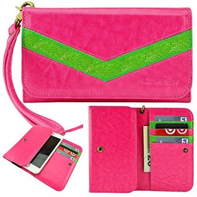 caseen ViVi Lumi Women s Smartphone Wallet Clutch Wristlet Case (Hot  Pink/Glitter Green) for Apple