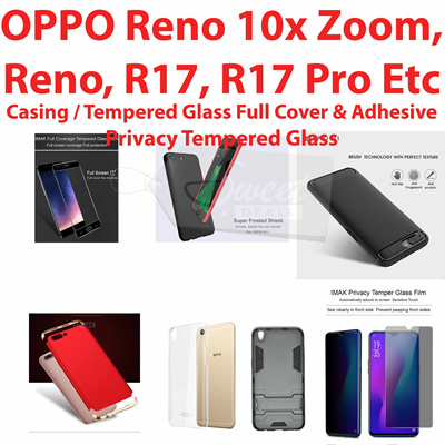 Casing Cover Tempered Glass Case OPPO Reno Zoom 10x/Reno/R17/R17Pro/Find  X/R15/R15 Pro/R11/R11 Plus