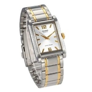 64ed2da79 Casio MTP-1235SG-7A MTP1235SG Men Gold Two Tone Stainless Steel Square  Analog