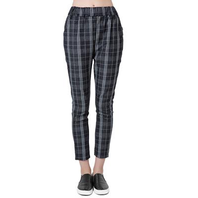 0089e372e41e Qoo10 - Casual All Match Women Plaid Harem Pants Elastic Waist Loose  Trousers : Kids Fashion