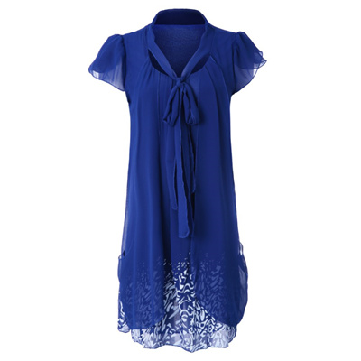 2d77b6b3f0e422 Qoo10 - Casual Bow Tie Collar Short Sleeve Faux Twinset Womens Dress : Women's  Clothing
