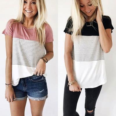 6cb9c5e539 Casual Women Fashion Round Neck Contrast Color Cotton Short Sleeve Stripe  Splice Design T Shirt Tee