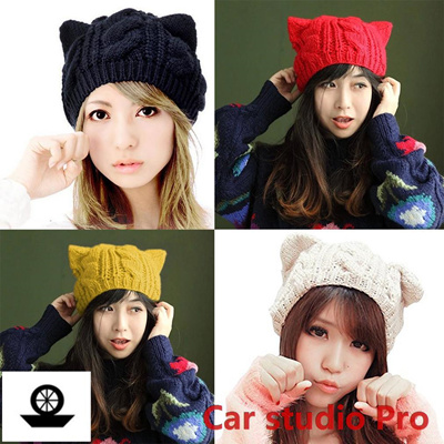 2af86292 Qoo10 - Cat Ears Cute Winter Hat/Hats For Women Knitting Warm Beanies  Knitted ... : Jewelry & Access.